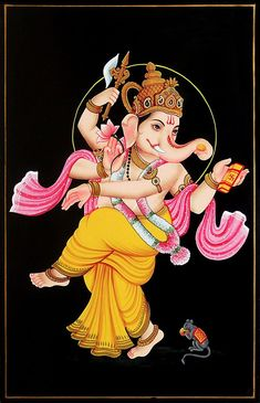 Dancing Ganesha - Nirmal Painting on Wood - Folk Art Paintings (Nirmal Paintings on Wood) Ganesha Drawing, Ganesha Tattoo, Lord Ganesha Paintings, Ganesha Art, Ganesha Pictures, Ganesh Images, Shiva Art, Krishna Art, Dancing Ganesha