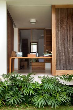 wooden home office
