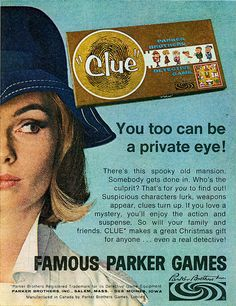 CLUE, One of our favorite family boardgames. Vintage Advertisements, Vintage Ads, Clue Party, Ad Libs, Jean Genie, Classic Board Games, Private Eye, Crime, Oldies But Goodies