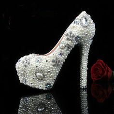 White pearl Slipper wedding shoes,party shoes,wedding shoes,Crystal Shoes,Bridal Shoes  rhinestones,High-heeled Waterproof shoes