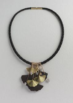 Necklace | Roger Doyle.  Black anodised aluminium or yellow 18k gold enameled black, 18k yellow gold and diamonds.