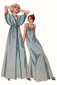 Vintage Kwik Sew #876 Ladies Nightgown and Peignoir Size: S,M,L, XL Busts 32.5-35.5 to 43-45 Waist 23.5-25.5 tp 34 -36.5 Hips 34-37 to 45-47 UNCUT Ladies Nightgown adn Peignoir. Gown is gathered to front and back yoke and has shoulder straps. Peignoir has bodice and sleeves in one piece, skirt gathered into bodice at empire waist, elastic at empire waist and ties. Nightgown and peignoir are trimmed with narrow lace or trim. FREE SHIPPING OFFER!!! Buy 3 patterns or more and I will ship f...