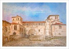 Cuadro en acuarela de la colegiata de Santillana del Mar en la que se aprecia la fachada principal del edificio en el cuadro.