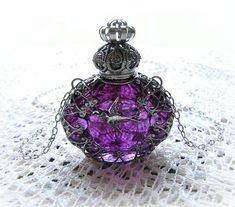 vintage perfume bottle necklace, I love the color of the bottle & the detail. Perfumes Vintage, Antique Perfume Bottles, Vintage Bottles, Blue Perfume, Dior Perfume, Perfume Atomizer, Purple Love, All Things Purple, Purple Rain