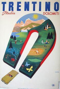 "ITALY - Trentino Dolomiti 1951 Mario Puppo 39"" x 26 1/2"" Vintage travel Poster"