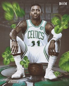 Artwork created of Boston Celtics newly acquired superstar, Kyrie Irving. Kyrie Irving Celtics, Irving Nba, Irving Wallpapers, Nba Wallpapers, Basketball Tricks, Basketball Pictures, Boston Sports, Nba Sports, Sports Art