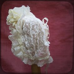 Antique victorian French Ruffled Christening Bonnet - Cotton Baby Bonnet Hat - Baby Doll Linen Vintage Accessories Embroidered Lace on Etsy, $85.00
