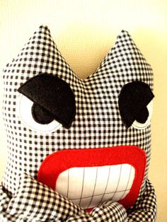 Angry Monster Black and White Plaid Softie Plush Toys by cronopia6, $24.00
