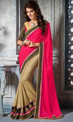 Brilliant Beige and Shocking Pink Saree