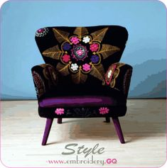 Furniture, : Stunning Image Of Furniture For Modern Living Room Decoration Using Chic Colorful Flower Embroidery Purple Velvet Armchair Along With Round Tapered Purple Chair Legs And Light Blue Living Room Wall Paint Funky Furniture, Solid Wood Furniture, Upholstered Furniture, Furniture Decor, Poltrona Vintage, Purple Chair, Purple Velvet, Dark Purple, Light Blue