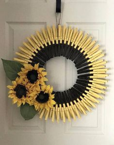 Best 12 Pretty Spring / Summer Wreath made with hand painted clothes pins. So pretty inside or outside, no door or outside patio space wall. Handmade by PaigeCreationsNmore NOTE: These are made to order, so designs may vary slightly Measures: 22 round Summer Crafts, Fall Crafts, Crafts To Make, Diy Crafts, Wreath Crafts, Diy Wreath, Wreath Ideas, Mesh Wreaths, Holiday Wreaths