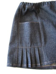 Oliver + S Music Class Skirt: denim fabric with small pleats extending down fro. Oliver + S Music Class Skirt: denim fabric with small pleats extending down from pockets. Very cute combination! Sewing Kids Clothes, Cool Kids Clothes, Baby & Toddler Clothing, Sewing For Kids, Baby Sewing, Diy Clothes, Fashion Sewing, Denim Fashion, Kids Fashion