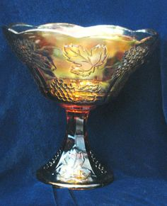 Indiana Glass Harvest Gold Carnival Glass Wedding Bowl Large