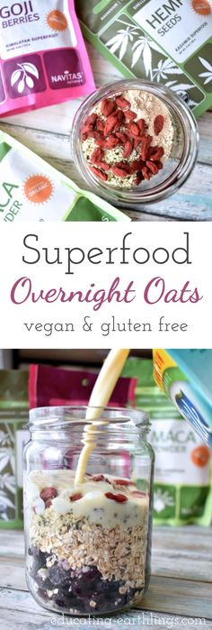 Superfood overnight oats tonight for an easy on the go breakfast! Plant Based Breakfast, Breakfast On The Go, Diet Breakfast, Healthy Breakfast Recipes, Vegan Recipes Easy, Raw Food Recipes, Breakfast Ideas, Freezer Recipes, Healthy Breakfasts