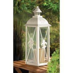 White Fleur De Lis Lantern | $39.95 | Lexi's Kreationz, LLC