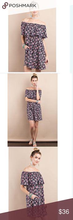 Off shoulder floral dress Floral Off shoulder layered dress, with hidden side pockets // 96% polyester, 4% spandex Dresses Mini