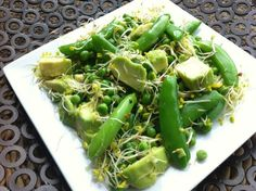 Sugarsnaps, green peas, avocado with Good4U Super Shoots and lemon, olive oil dressing (from @yvheller on Twitter) Olive Oil Dressing, Green Peas, Celery, Competition, Avocado, Salads, Lemon, Vegetables, Twitter