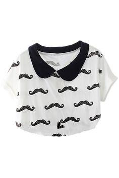 Moustache Print White T-shirt #ROMWE