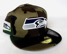 Camo Seahawks Hat With Logo in WA State Outline New Era 59FIFTY Fitted Flat Bill #NewEra #SeattheSeahawks