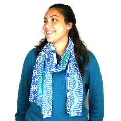 White and Blue Ikat Cotton Scarf
