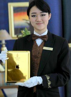 24-Karat Gold iPads in every room at the Burj Al Arab ultra-luxury hotel Dubai.