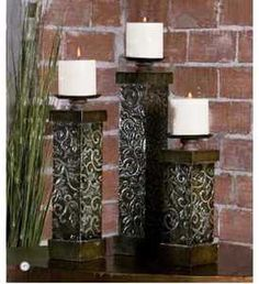 Set of 3 Large Tuscan Embossed Iron/Metal Pillar Candleholders Tuscan Decorating, Iron Art, Tuscan Style, Old World, Candle Sconces, Pillar Candles, Floral Design, Candle Holders, Wall Lights