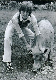 John doing a spoof take of Paul's 'Ram' album cover with a pig.