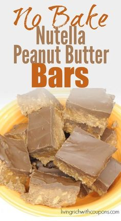 No Bake Nutella Peanut Butter Bars - Click for how to video