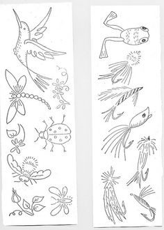 birds, bees, frogs, lures embroidery pattern. I love the bee especially!
