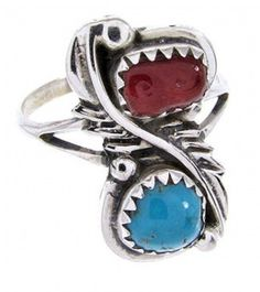 Silver Native American Turquoise Coral Ring Size 7-1/2 JW65058-0