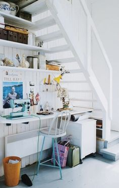 workspace under the stairs