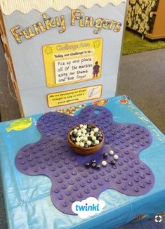 Placing marbles on an upturned bath mat or shower grip shapesMy new funky finger table gymLove this finger strengthening idea!Like the idea of a Challenge AreaIrresistible early Years ideas for your indoor and outdoor provision. Preschool Fine Motor Skills, Motor Skills Activities, Gross Motor Skills, Eyfs Activities, Physical Activities, Dyslexia Activities, Movement Activities, Therapy Activities, Early Years Classroom