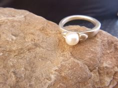 Pearl Solitaire Ring Artesian Crafted by TwinklingStarVintage