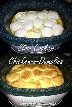 Slow cooker Chicken and Dumplings- the perfect end to a day spent in the crisp autumn air! Slow cooker Chicken and Dumplings- the perfect end to a day spent in the crisp autumn air! Slow Cooker Huhn, Crock Pot Slow Cooker, Slow Cooker Recipes, Cooking Recipes, Easy Recipes, Cooking Fish, Cooking Salmon, Crock Pot Food, Crockpot Dishes