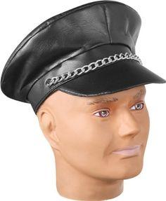 Adult Black Biker Costume Hat