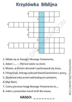 Krzyżówka biblijna do wydruku | Pokoloruj Świat Learn Polish, Polish Language, English Games, Crossword, Teaching, Education, School, Therapy, Crossword Puzzles