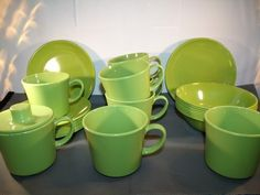 Texas Ware Green Melamine Bowls Saucers Cups Plates Lot of 32 Pieces | eBay
