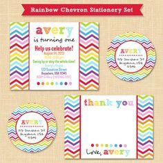 Rainbow Chevron Custom Birthday Printable Invitation // Thank You Card // Return Address Label Stationery Set
