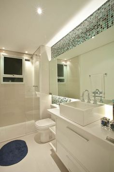 Stylish modern bathroom ideas and designs; from contemporary lighting and mirrors to perfect modern vanity units. Contemporary Bathrooms, Modern Bathroom, Small Bathroom, Modern Vanity, Toilet Design, Bath Design, Bathroom Layout, Bathroom Interior Design, Bathroom Designs