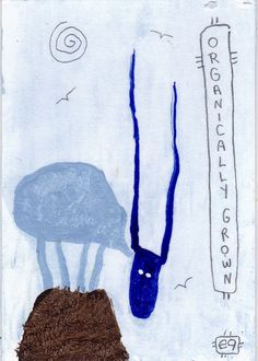 organically grown e9Art ACEO Goat Sheep Outsider Art Folk Brut Painting Abstract Figurative