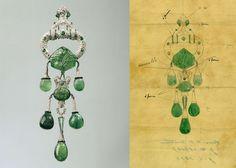 Marjorie Merriweather Post's Cartier Brooch and sketch of the brooch