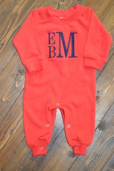 1da87281e Monogram boys romper personalized newborn by emilyquinndesign Baby Boy  Monogram, Monogram Onesies, Baby E