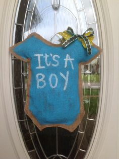 A personal favorite from my Etsy shop https://www.etsy.com/listing/239912596/welcome-its-a-boy-baby-burlap-door