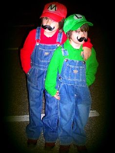 Mario and Luigi Halloween costume for the two boys