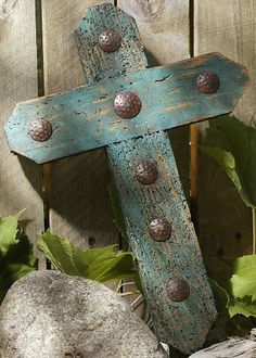 rustic turquoise painted wormwood clavo cross