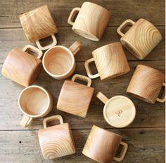 Gorgeous handmade Japanese Cypress Hinoki Wood Mug by UGUiSU Coffee Shop, Coffee Mugs, Drink Coffee, Hinoki Wood, Wood Mug, Wood Design, Wood Turning, Wood Crafts, Wood Projects