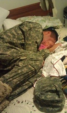 Soldier home and meets his baby for the first time. *this makes me teary everytime I see it*