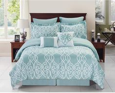 Buy Dawson Reversible Twin Comforter Set in Blue/White from Bed Bath… Twin Comforter Sets, King Comforter, Bedding Sets, Bedroom Comforters, Master Bedroom, Bedroom Decor, European Pillows, One Bed, Home Inc