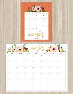printable floral calendar - november