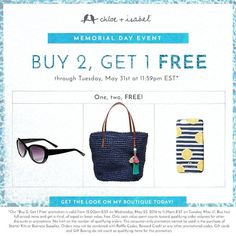 This Memorial Day, shop my boutique for all your Summer needs! ---Bonus: Buy 2 Get 1 Free now through May 31! https://www.chloeandisabel.com/boutique/pamelahammonds #chloeandisabel #summertime #memorialdayweekend #buy2get1free #jewelry #boutique  #treatyourself #lifetimereplacementguarantee #shipsanywhereintheus